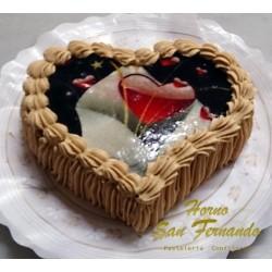 Tarta de moka-corazón