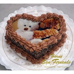 Tarta de chocolate-corazón
