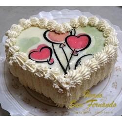 Tarta de nata-corazón